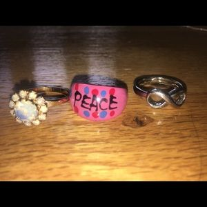 Various Rings, some adjustable, lightly worn